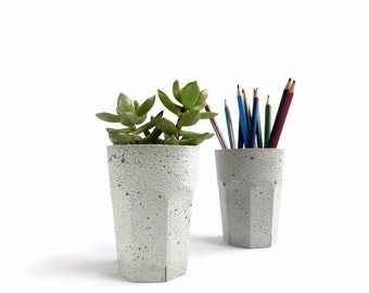 Concrete Pot Cup for Succulent Cactus Grey Urban Industrial Planter Home Decor
