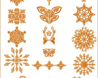 """ABC Embroidery 20 Designs Amber Ornaments for 5""""x7"""" hoop,  D2124"""