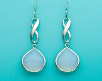 Opal Infinity Earrings, Charm Earrings, Opal Crystal Earrings, Infinity Symbol, Infinity Gift, Dangle Earrings, Gifts for Her, 204