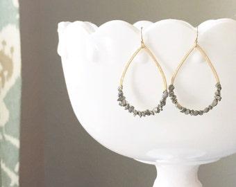 Crushed Pyrite Gold Teardrop Earrings | Pyrite Earrings | Gold Teardrop Earrings | Fools Gold Earrings | Pyrite Teardrops | Minimalist