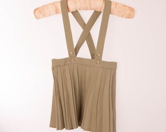 khaki green girls skirt with shoulder straps, braces, pleated, Vintage, pre-loved, childs dress, 24 months, adjustable straps
