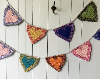 CROCHET PATTERN Hearts Garland, Valentine Crochet Hearts Banner Pattern, Hearts Bunting, Crochet Home Decor, Party Decorations, Baby Garland