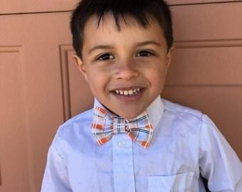 Boys Bow Tie Orange Plaid Fabric