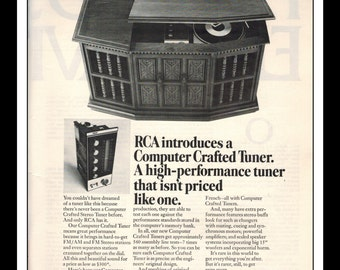 "Vintage Print Ad October 1969 : RCA Stereo Turntable Wall Art Decor 8.5"" x 11"" Advertisement"