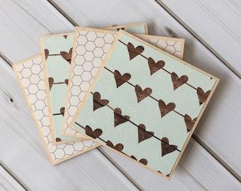 Heart Coasters, Heart Decor, Valentine's Day Gift, Farmhouse Decor, Rustic Home Decor, Wooden Coaster Set, Coasters, Wood Coasters