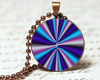 Trippy bright purples optical illusion pendant necklace