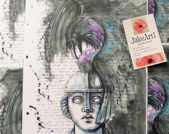 The Raven Nevermore digital print raven gothic art Edgar Allen Poe poetry inspired fantasy art