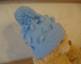 Hand Knitted Bobble Hats with PomPoms White and Blue