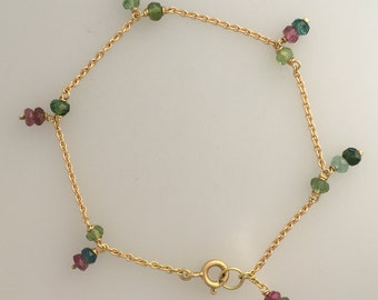 Pink & green faceted tourmaline beaded bracelet in solid 18ct gold