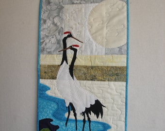 Art Quilt, Wall Hanging, Japan, Cranes, Impressionistic, Home Decoration, Moonlight, Quilt, Art,