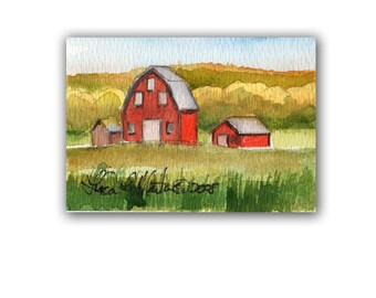 Red Barns Fall Autumn  by llmartin Original ACEO Watercolor Free Shipping USA