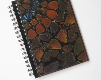 Damien Hirst A6 (15 x 11 cm) spiral-bound notebook made with genuine butterfly print wallpaper.