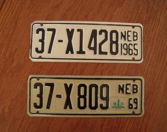 Nebraska 1965 & 1969 small license plates