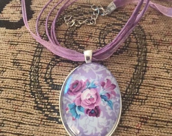 Vintage style pink roses silver pendant lilac organza ribbon necklace