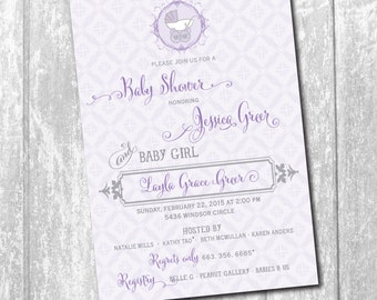 Vintage Baby Shower Invitation printable/Digital File/girl baby shower, boy baby shower, carriage, purple, gray/Wording can be changed