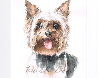 Yorkshire Watercolor Giclee Print By WashDog