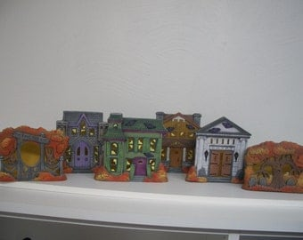 Ceramic Halloween Haunted Houses Votive Village set of six