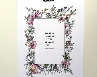Watercolor Van Gogh Quote Print