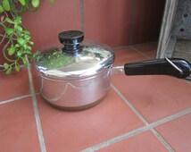 Revere Ware Copper Clad Sauce Pan Vintage 1990's 1 qt 1801 Lidded Pan Cookware - Kit051