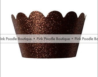 Glitter CUPCAKE WRAPPERS (12 pc)  --  Bronze/Brown