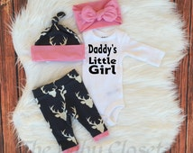 Baby Girls Coming Home Outfit,Daddy's Little Girl ,Country Outfit Set ,Girls Deer Outfit,Light Pink,Navy Blue and White,leggings,hat