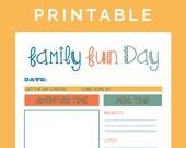 Family Fun Day Itinerary - Printable PDF