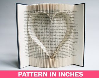 Book Folding Pattern in inches Inverted Heart: Book Folding Tutorial, Cut and Fold, Free printable downloads to personalise your book art