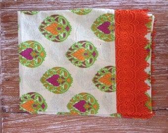 Green Filigree Flower Bud Print Pram Throw with Wide Orange Lace Trim