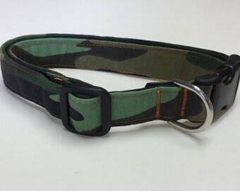 Adjustable Green Camo Print Dog Collar
