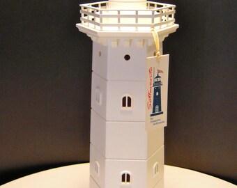 Wooden lighthouse - handmade table atmosphere lamp, gift idea