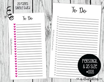 A5 and Personal Size Planner Insert: To Do List | Kikki K, Filofax, Webster Pages | #008