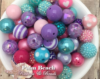 100- pc Chunky 20mm Acrylic Assortment of Beads Aqua, Pink and Purple DIY Mix Wholesale Lot