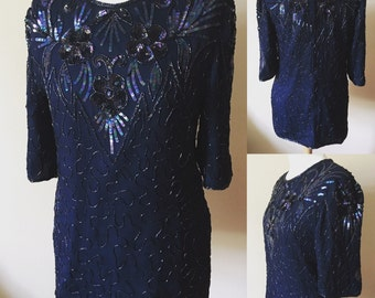 Vintage Frank Usher Midnight Blue Embellished Blouse - UK Size 14/US Size 10