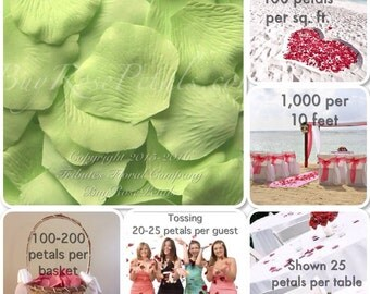 500 Honeydew Rose Petals - Silk Rose Petals for Weddings