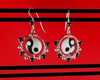 Chinese Yin Yang Lampwork Bead - Obsidian Earrings