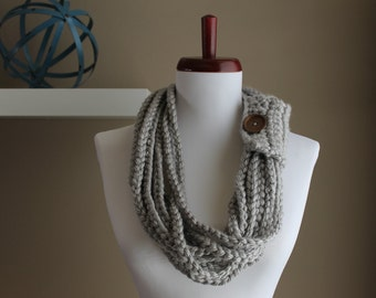 Crochet Rope Necklace Silver Grey