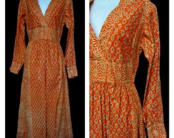 70s india imports of rhode island vintage boho maxi dress | bohemian ethnic long orange blue floral 100% cotton print | 1970s hippie flower