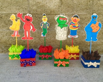 Sesame Street Birthday Centerpiece Decoration Elmo Cookie Monster Oscar Bernie birthday party guest table centerpiece decoration PER PIECE