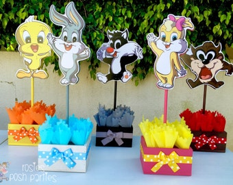 Baby Looney Tunes Baby Shower or 1st Birthday Inspired by Baby Looney Tunes Centerpieces Favors for guest Table Baby Shower Centerpieces
