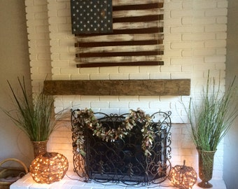 Five Foot Long Rustic Hand Hewn Solid  Pine Fireplace Mantel