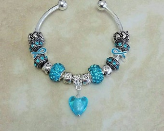 Blue Ribbon Glass Heart Czech Rhinestone Antique Charms Silver Plated Bangle 7.5 Inches