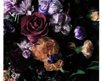hand coloured floral photographic print