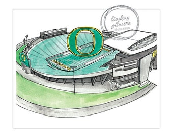 University of Oregon Autzen Stadium print