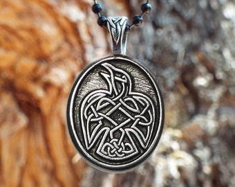 "Raven Necklace - Celtic Raven Pendant in Fine Pewter - ""Speak your truth"" - Celtic Knot Raven Peter Pendant - Viking Raven"