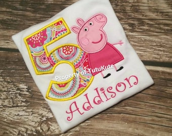 Peppa Pig Birthday Shirt FREE Personalization
