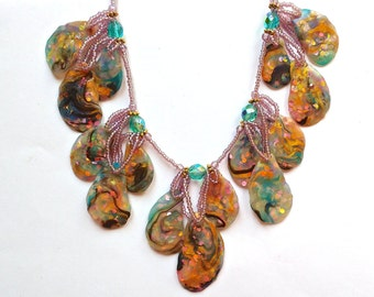 Polymer Clay Opalescent Statement Necklace~Abstract Teardrop Shapes