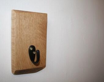 Wooden Key Holder / Wood Wall Hook / Coat Hook / Oak Wall Hanger / Reclaimed Wood / One Hook / Single Hanger / Decorative / Handmade