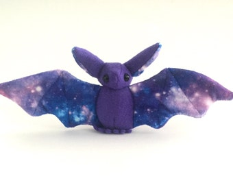 Small purple bat with galaxy print soft stuffed plush kids toy animal handmade- made to order