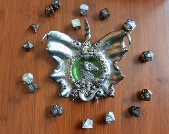 Dragon Dish made from polymer clay and recycled glass// Dice Holder //Trinket Dish //Dragon Decor // Dungeons and Dragons/ D&D // Geeky gift