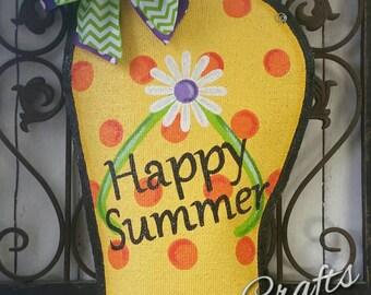 Summer Burlap Door Hanger Flip Flop Style
